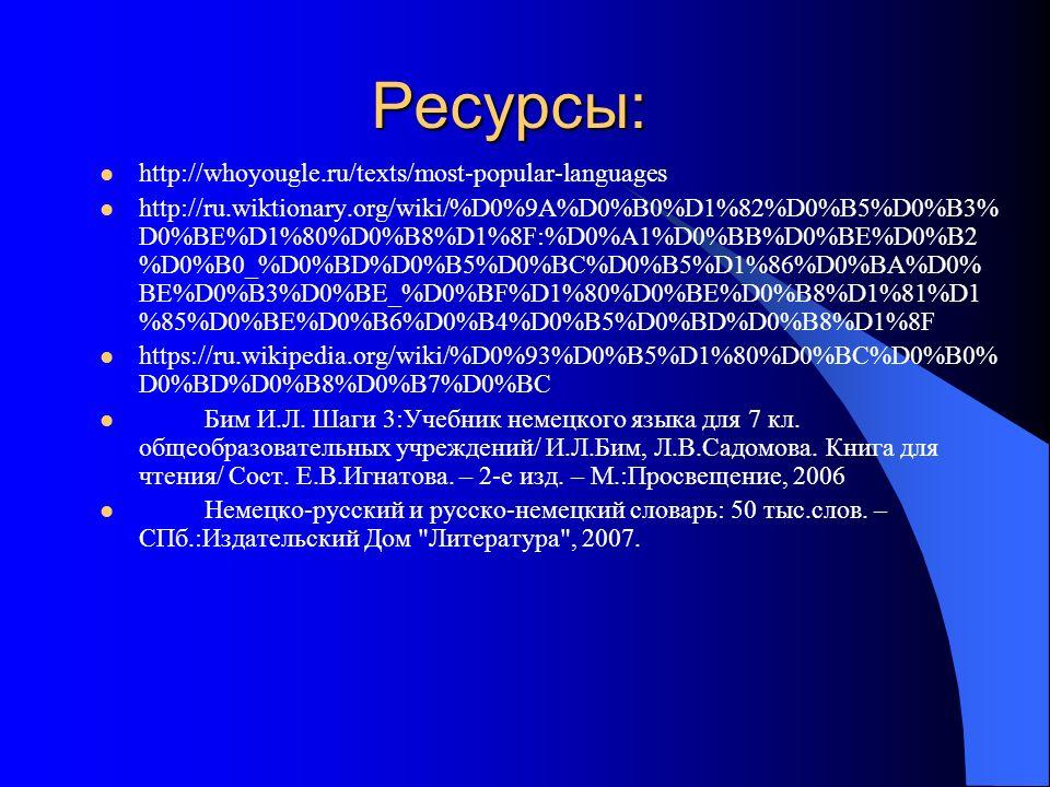 Ресурсы: http://whoyougle.ru/texts/most-popular-languages