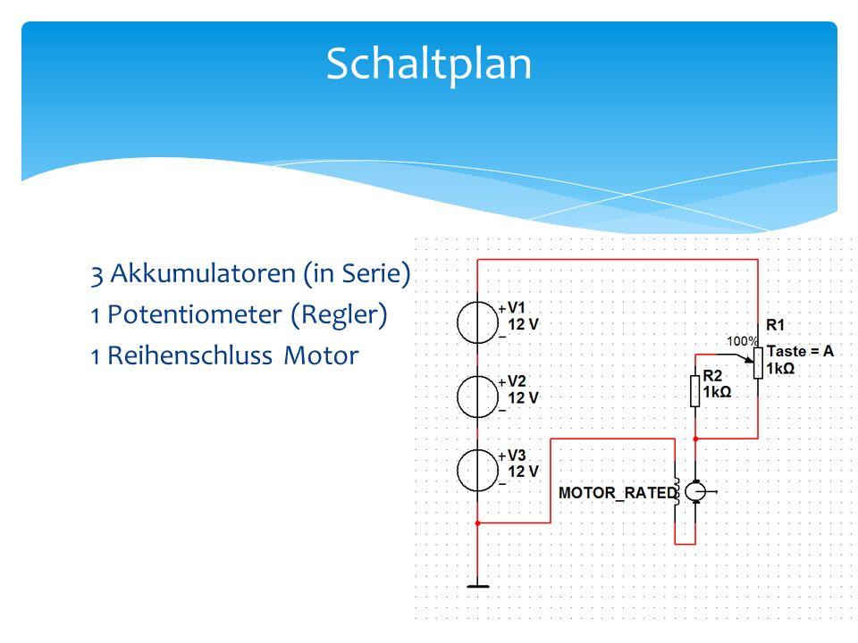 Schaltplan 3 Akkumulatoren (in Serie) 1 Potentiometer (Regler) 1 Reihenschluss Motor