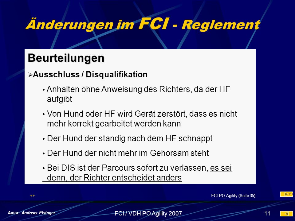 Änderungen im FCI - Reglement