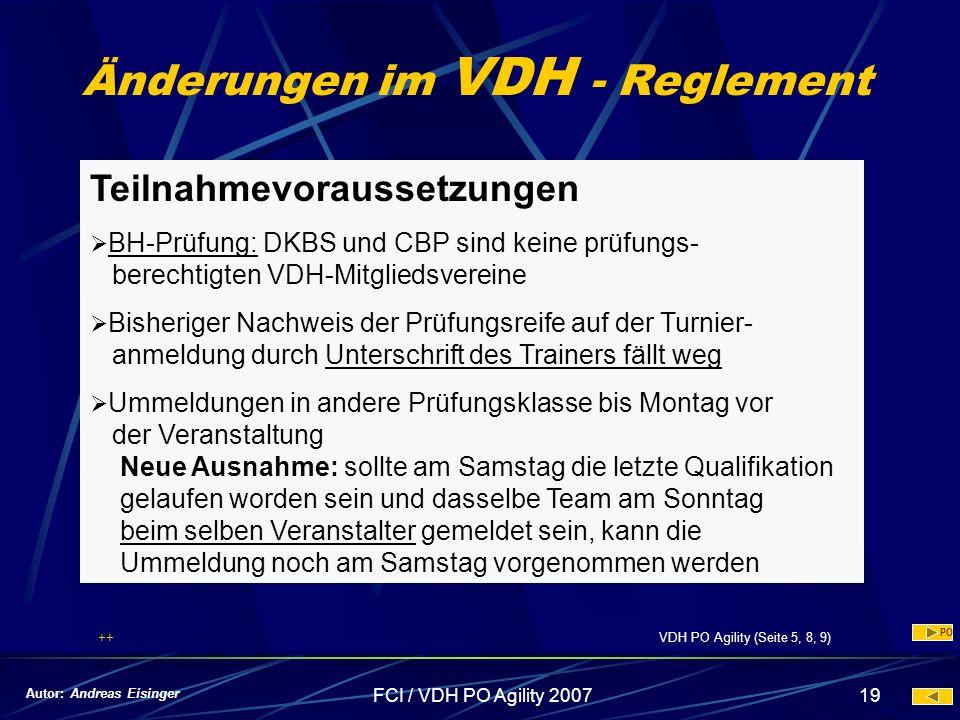Änderungen im VDH - Reglement