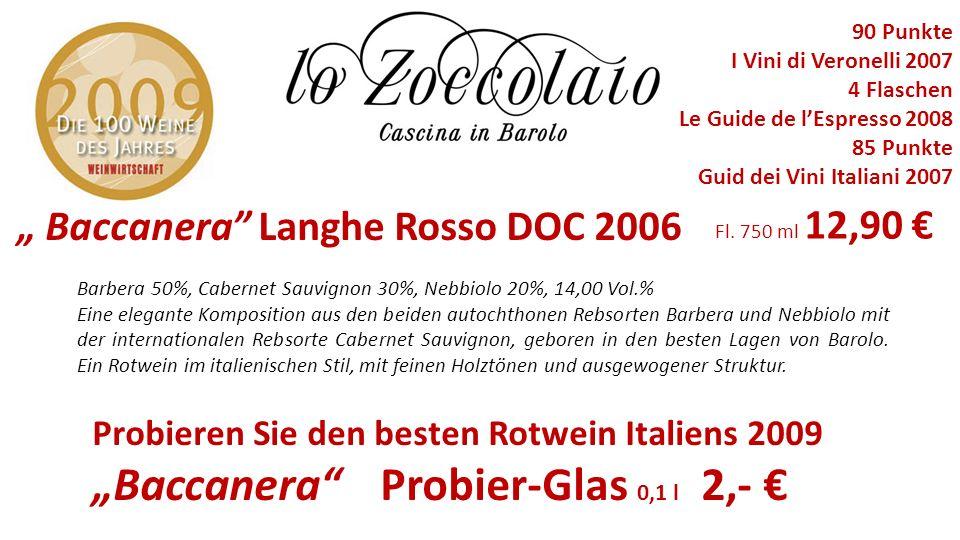 """Baccanera Probier-Glas 0,1 l 2,- €"