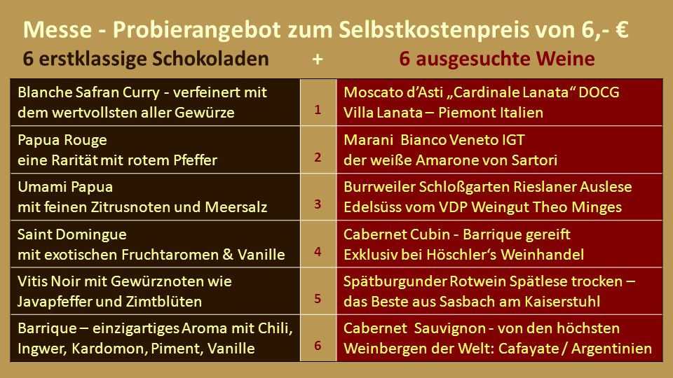 Messe - Probierangebot zum Selbstkostenpreis von 6,- € 6 erstklassige Schokoladen + 6 ausgesuchte Weine