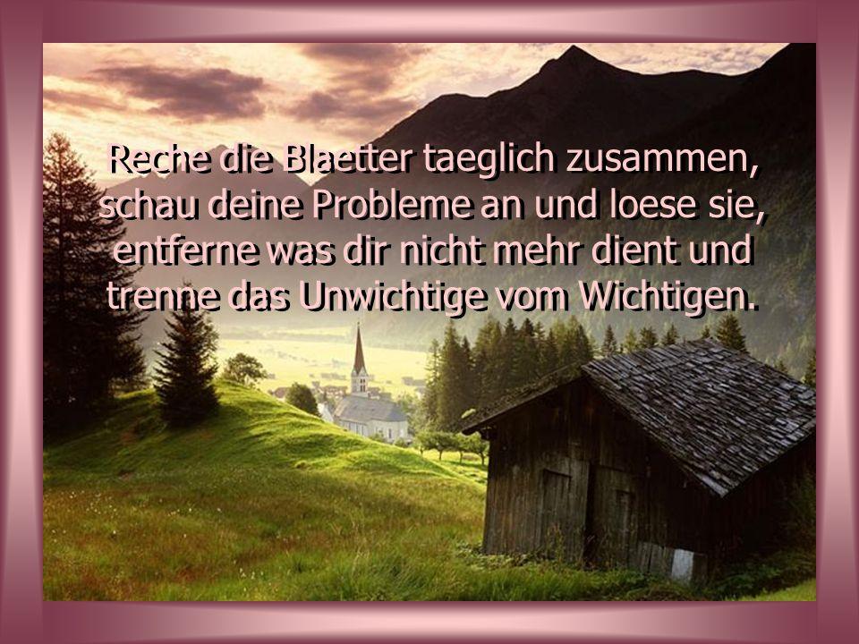 Reche die Blaetter taeglich zusammen, schau deine Probleme an und loese sie, entferne was dir nicht mehr dient und trenne das Unwichtige vom Wichtigen.