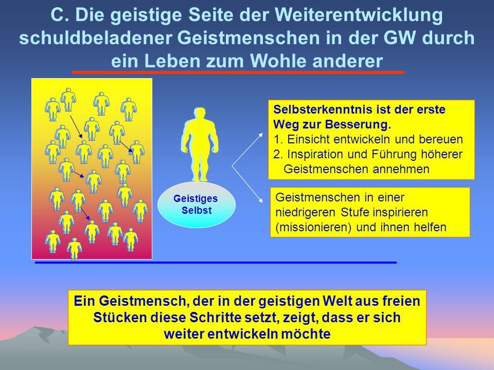 C. Die geistige Seite der Weiterentwicklung schuldbeladener Geistmenschen in der GW durch ein Leben zum Wohle anderer