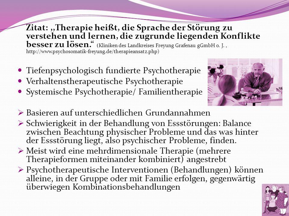 Zitat: ,,Therapie heißt, die Sprache der Störung zu verstehen und lernen, die zugrunde liegenden Konflikte besser zu lösen. (Kliniken des Landkreises Freyung Grafenau gGmbH o. J. , http://www.psychosomatik-freyung.de/therapieansatz.php)