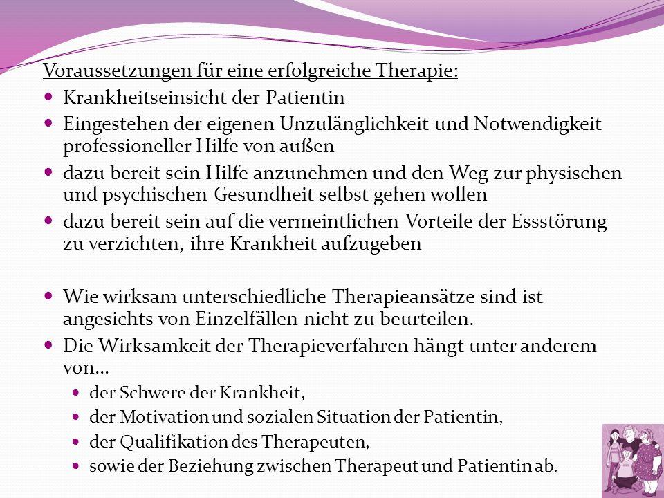Voraussetzungen für eine erfolgreiche Therapie: