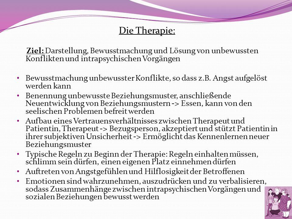 Die Therapie: Ziel: Darstellung, Bewusstmachung und Lösung von unbewussten Konflikten und intrapsychischen Vorgängen.