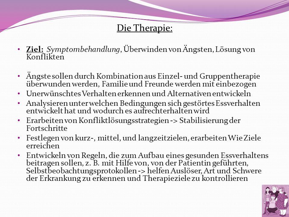 Die Therapie: Ziel: Symptombehandlung, Überwinden von Ängsten, Lösung von Konflikten.