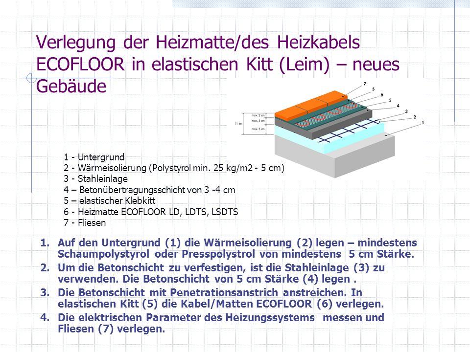Verlegung der Heizmatte/des Heizkabels ECOFLOOR in elastischen Kitt (Leim) – neues Gebäude