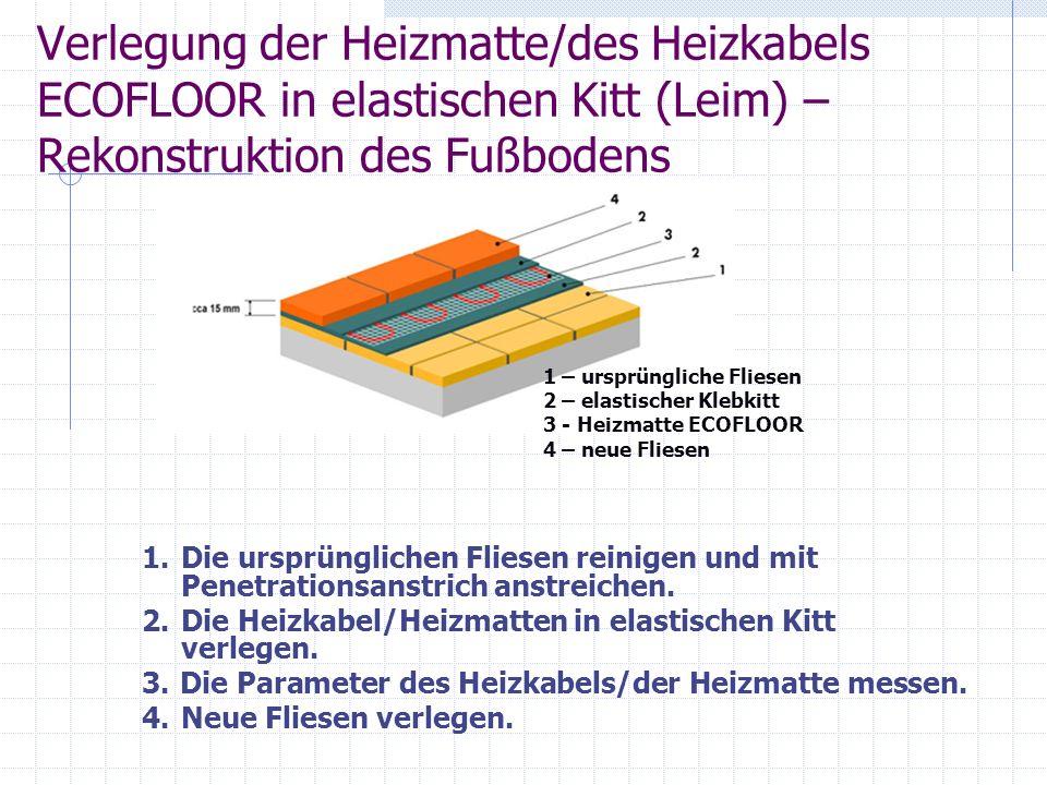 Verlegung der Heizmatte/des Heizkabels ECOFLOOR in elastischen Kitt (Leim) – Rekonstruktion des Fußbodens