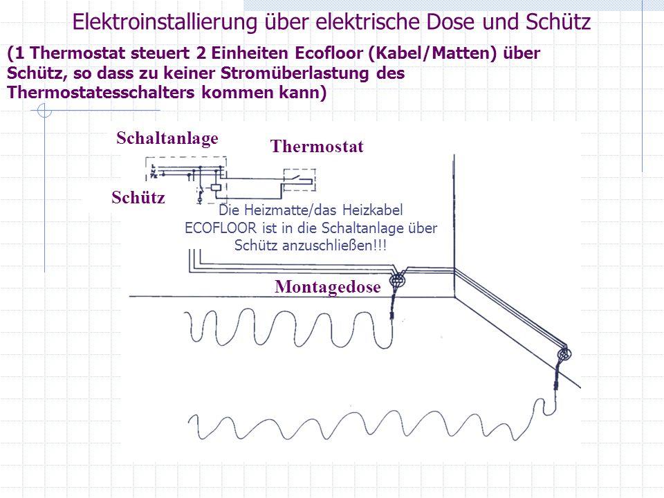 Elektroinstallierung über elektrische Dose und Schütz