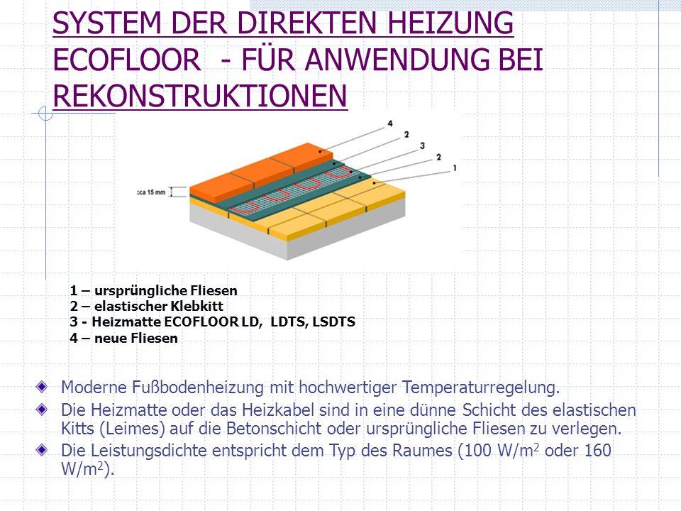 SYSTEM DER DIREKTEN HEIZUNG ECOFLOOR - FÜR ANWENDUNG BEI REKONSTRUKTIONEN