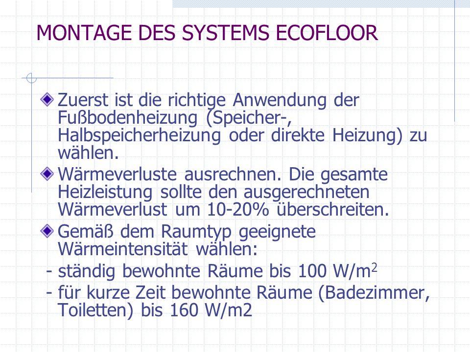 MONTAGE DES SYSTEMS ECOFLOOR