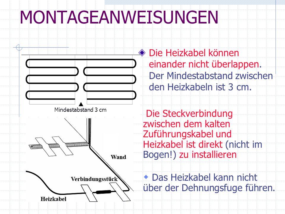 MONTAGEANWEISUNGENDie Heizkabel können einander nicht überlappen. Der Mindestabstand zwischen den Heizkabeln ist 3 cm.