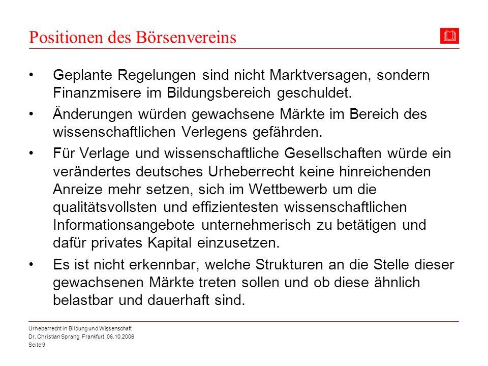 Positionen des Börsenvereins
