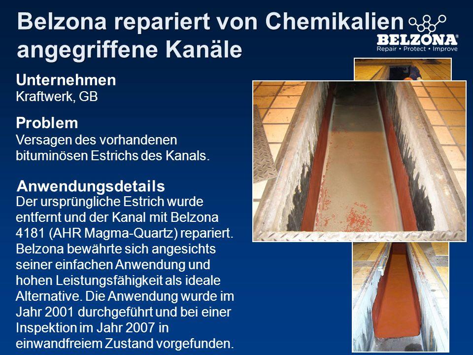 Belzona repariert von Chemikalien angegriffene Kanäle
