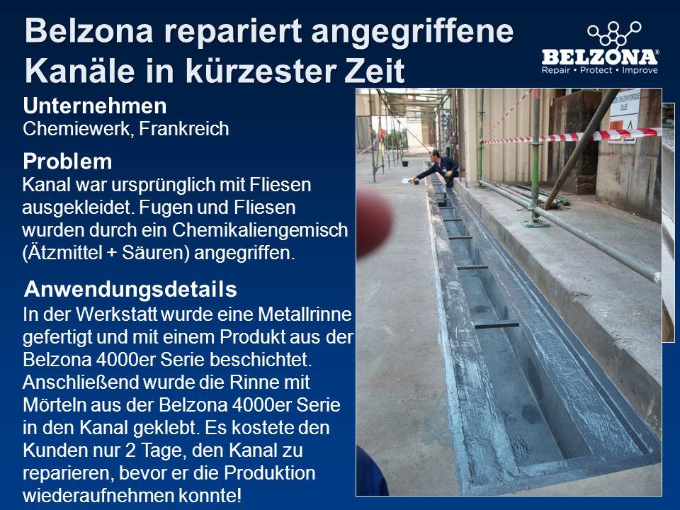 Belzona repariert angegriffene Kanäle in kürzester Zeit