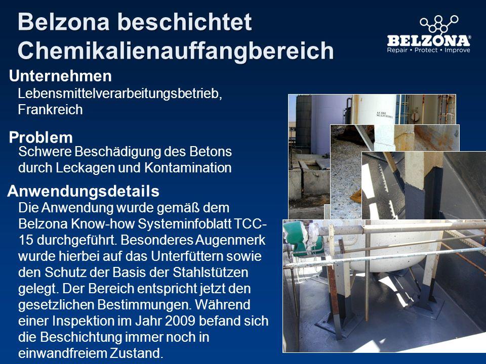 Belzona beschichtet Chemikalienauffangbereich