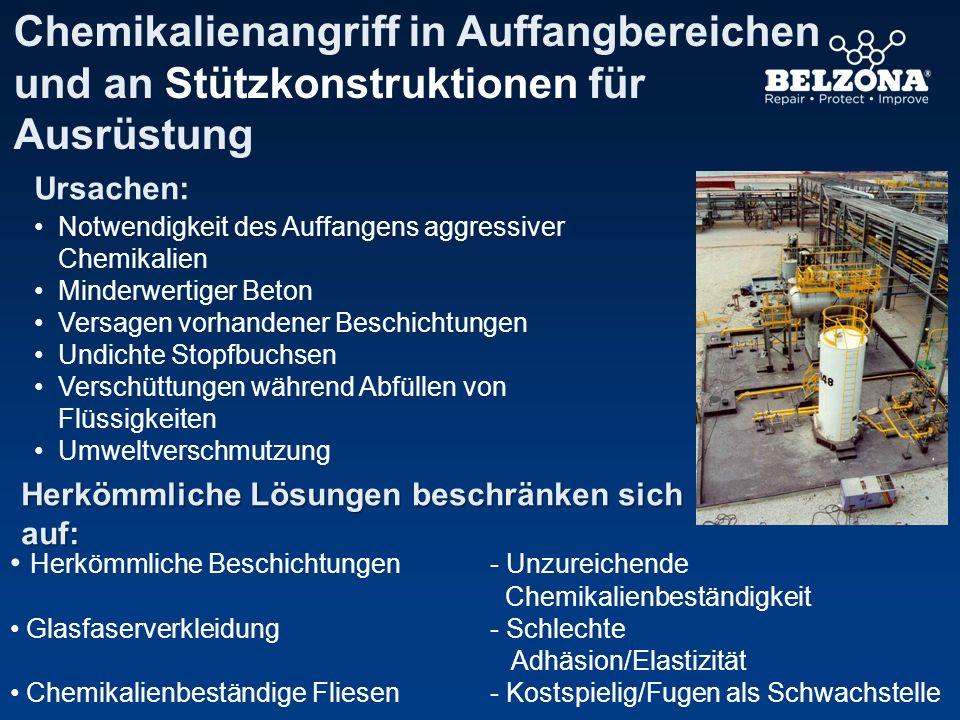 Chemikalienangriff in Auffangbereichen und an Stützkonstruktionen für Ausrüstung
