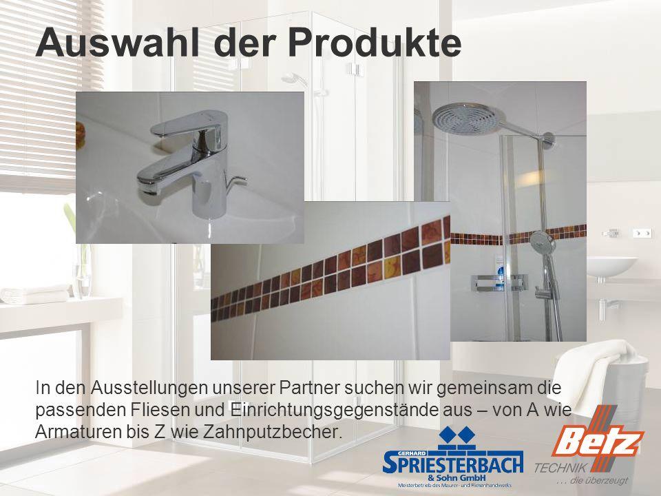 Auswahl der Produkte