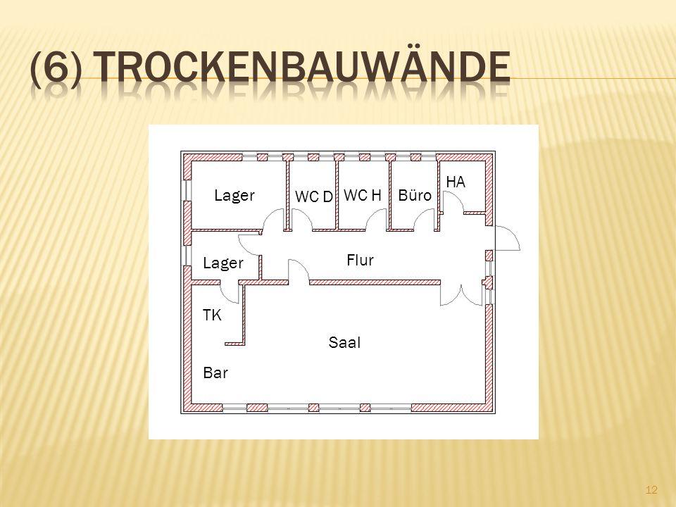 (6) Trockenbauwände Lager HA Lager WC D WC H Büro Lager Flur TK Saal