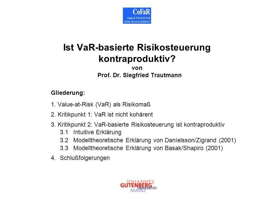 Ist VaR-basierte Risikosteuerung kontraproduktiv. von Prof. Dr