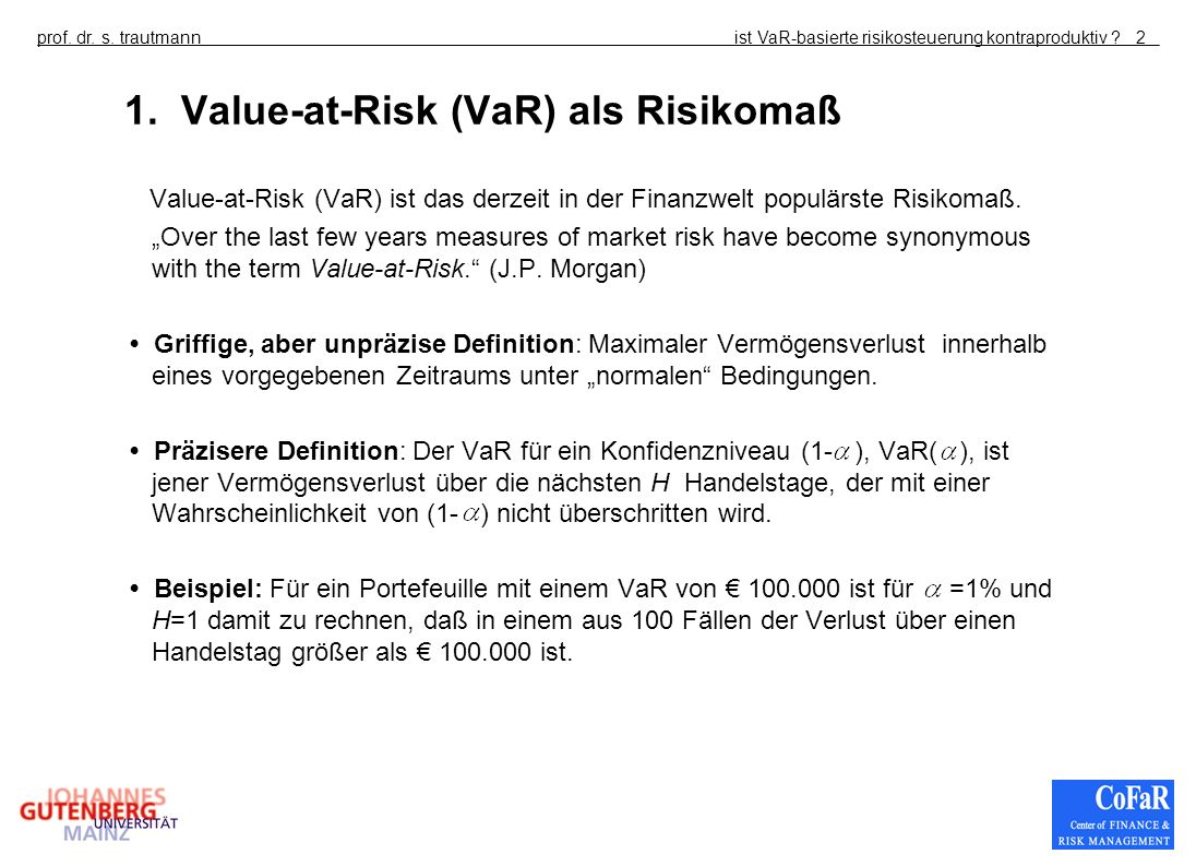 1. Value-at-Risk (VaR) als Risikomaß