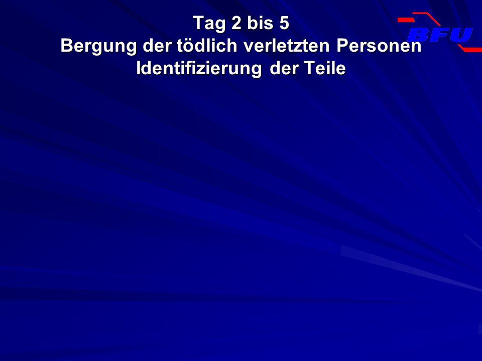 Tag 2 bis 5 Bergung der tödlich verletzten Personen Identifizierung der Teile