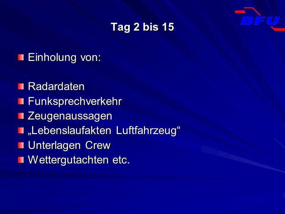 """Tag 2 bis 15Einholung von: Radardaten. Funksprechverkehr. Zeugenaussagen. """"Lebenslaufakten Luftfahrzeug"""