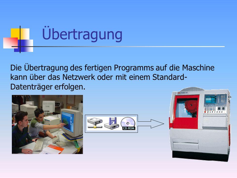 Übertragung Die Übertragung des fertigen Programms auf die Maschine kann über das Netzwerk oder mit einem Standard- Datenträger erfolgen.