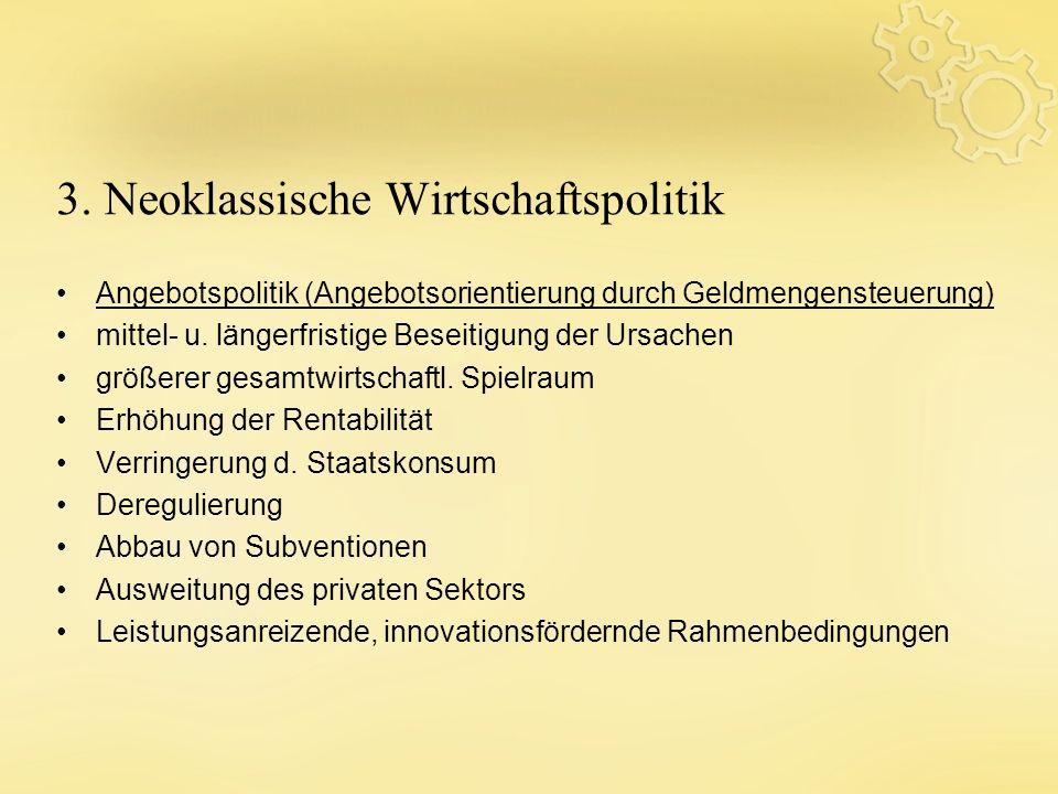 3. Neoklassische Wirtschaftspolitik