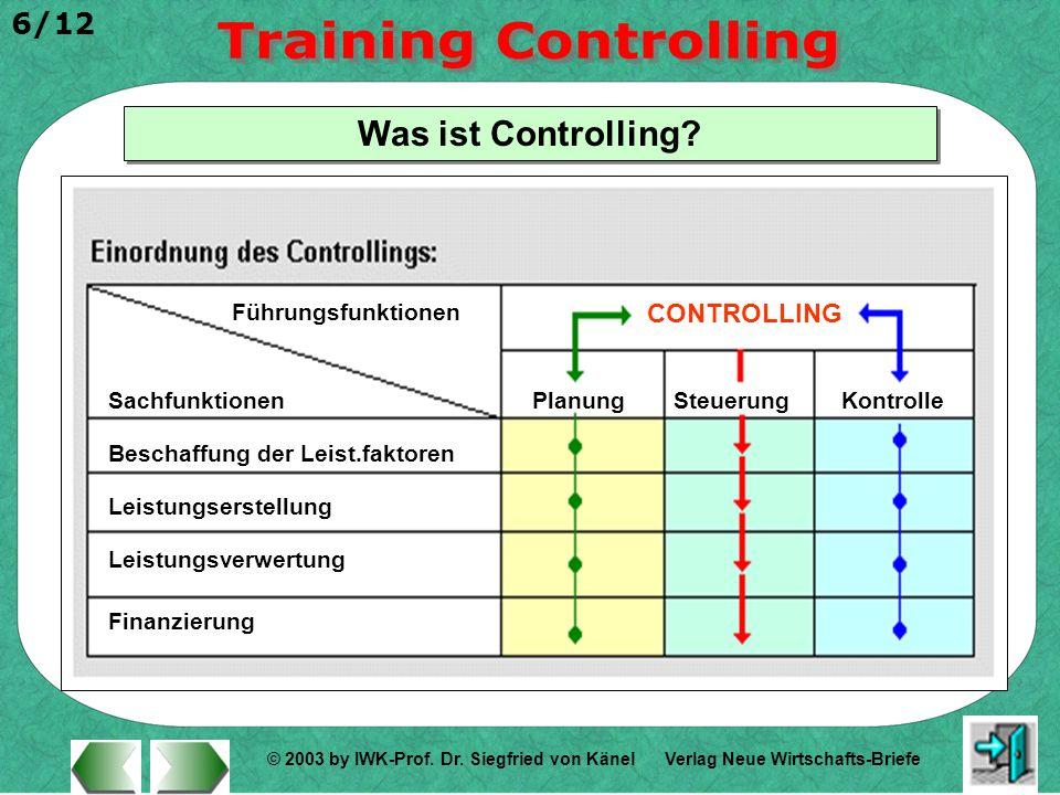 Was ist Controlling CONTROLLING Führungsfunktionen Sachfunktionen