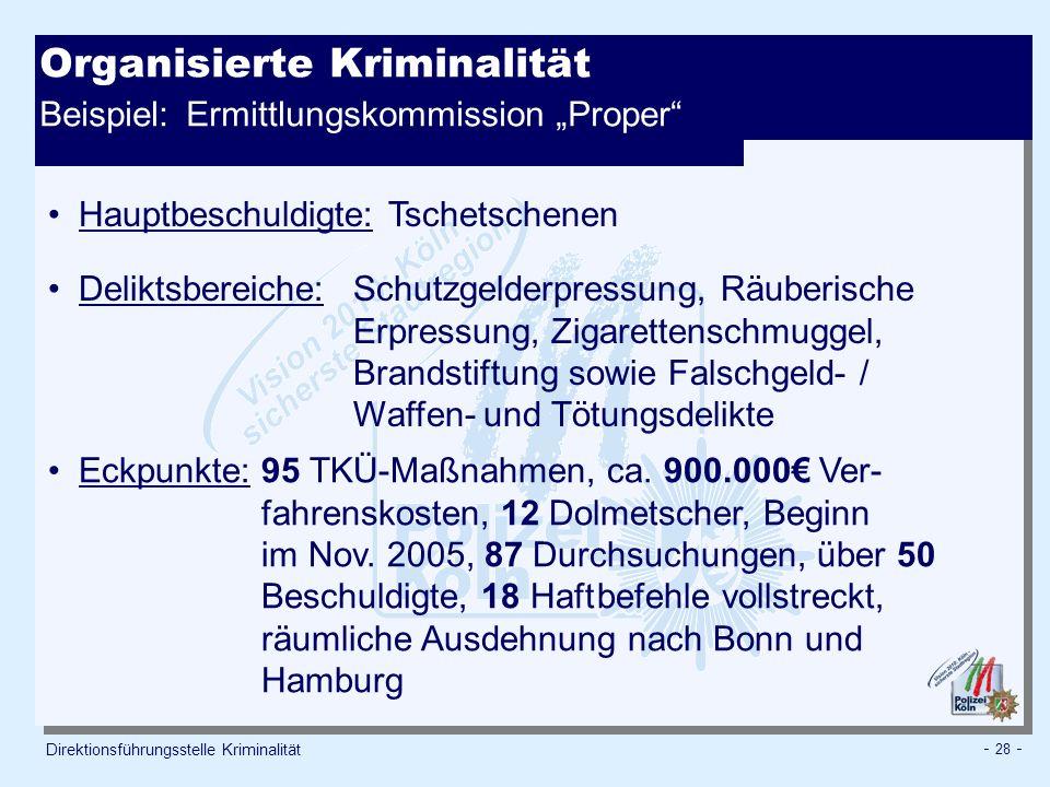 """Organisierte Kriminalität Beispiel: Ermittlungskommission """"Proper"""