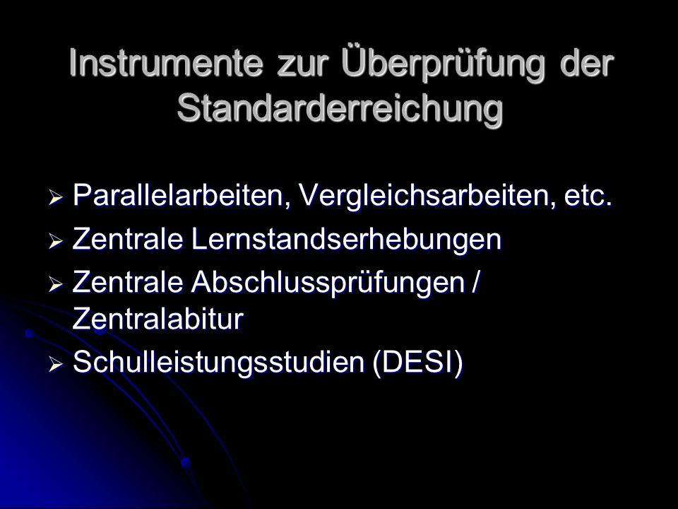 Instrumente zur Überprüfung der Standarderreichung