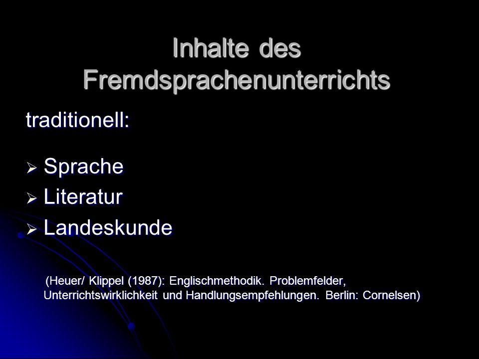 Inhalte des Fremdsprachenunterrichts