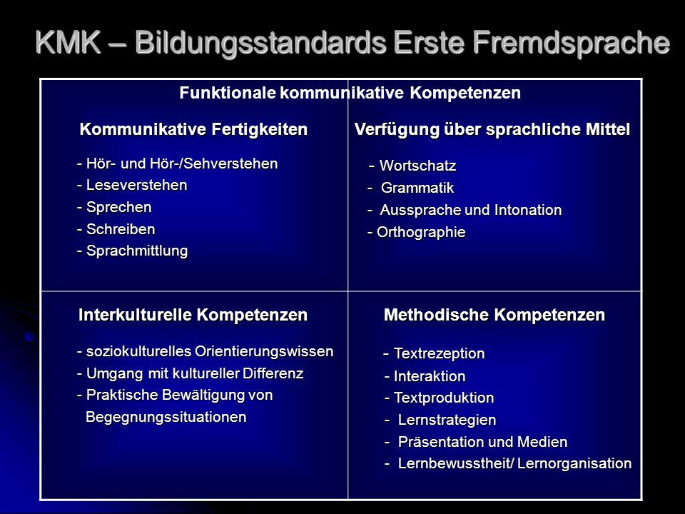 KMK – Bildungsstandards Erste Fremdsprache