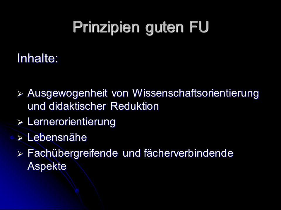 Prinzipien guten FU Inhalte: