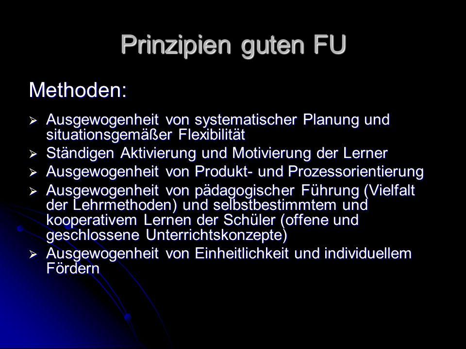 Prinzipien guten FU Methoden: