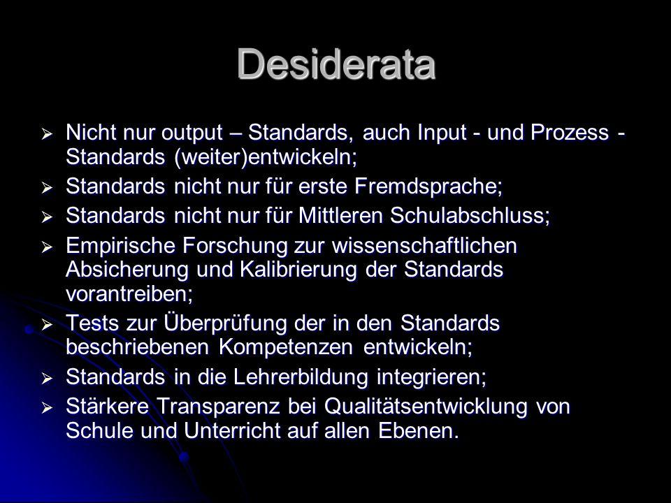 Desiderata Nicht nur output – Standards, auch Input - und Prozess - Standards (weiter)entwickeln; Standards nicht nur für erste Fremdsprache;