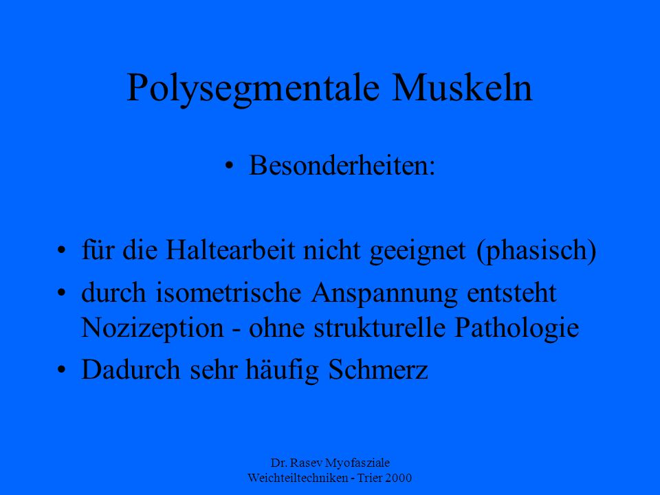 Polysegmentale Muskeln