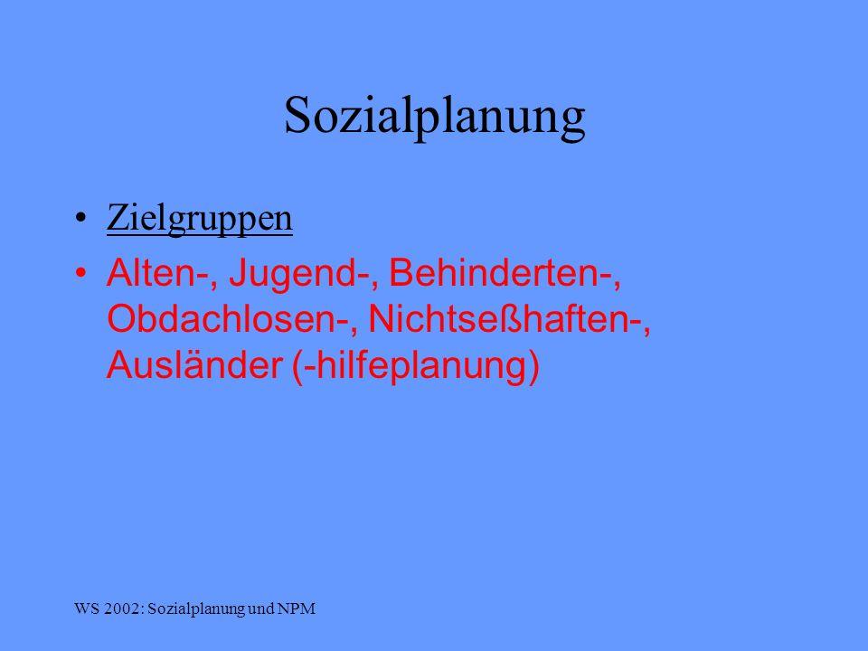 Sozialplanung Zielgruppen