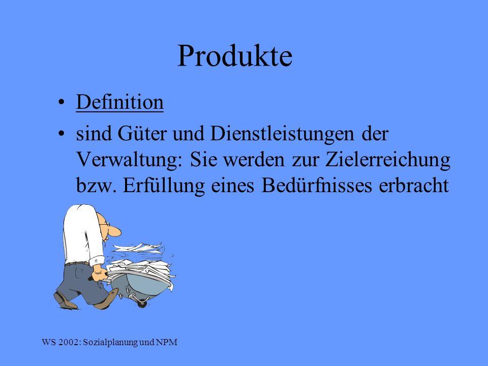 Produkte Definition. sind Güter und Dienstleistungen der Verwaltung: Sie werden zur Zielerreichung bzw. Erfüllung eines Bedürfnisses erbracht.