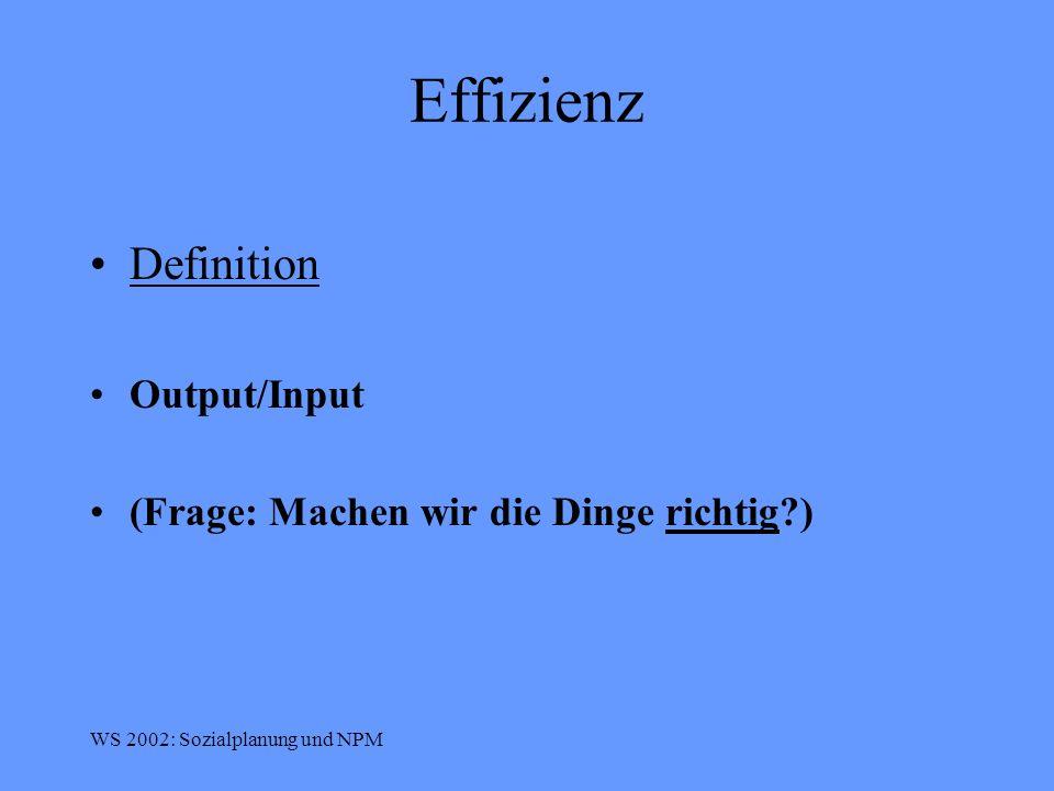 Effizienz Definition Output/Input