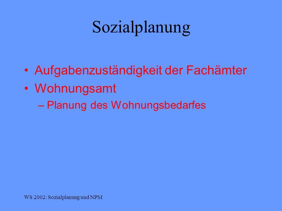 Sozialplanung Aufgabenzuständigkeit der Fachämter Wohnungsamt