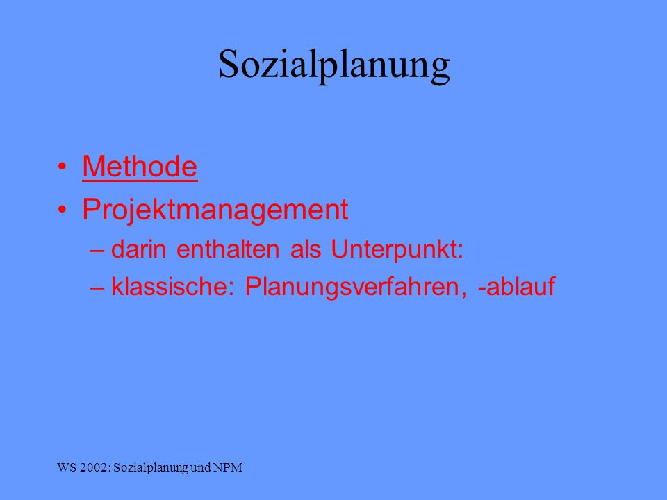 Sozialplanung Methode Projektmanagement