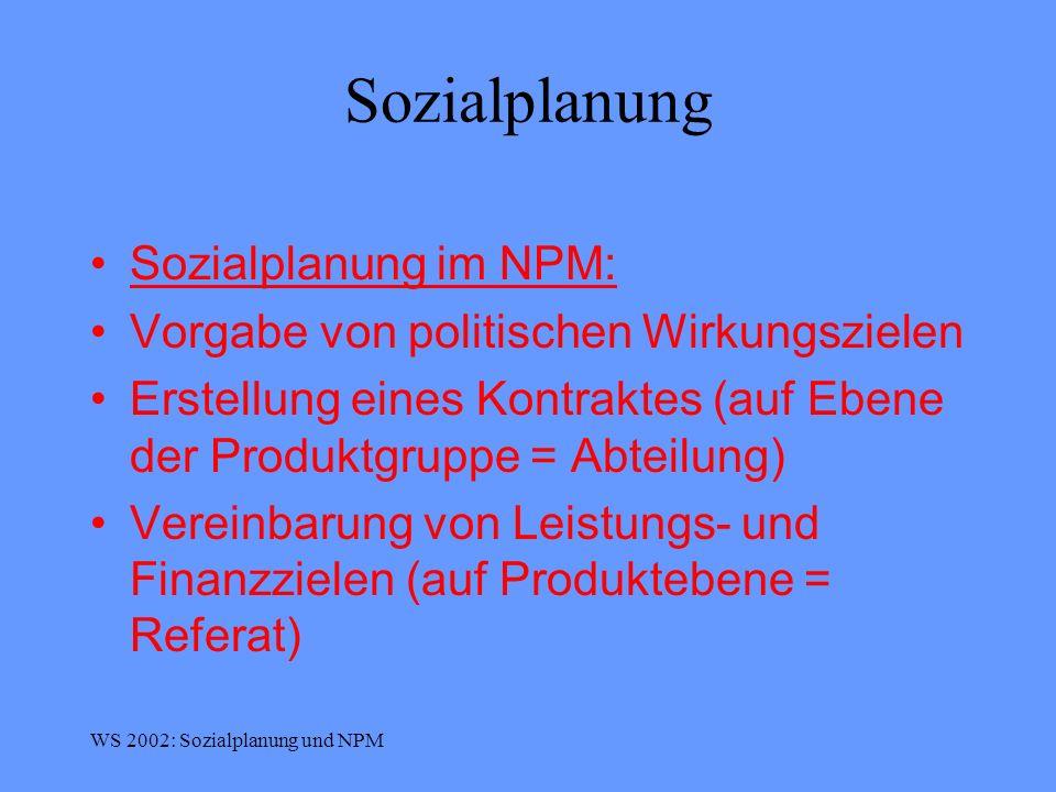 Sozialplanung Sozialplanung im NPM: