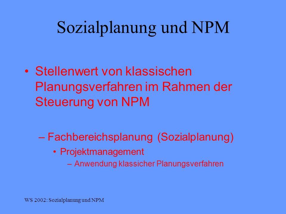 Sozialplanung und NPM Stellenwert von klassischen Planungsverfahren im Rahmen der Steuerung von NPM.