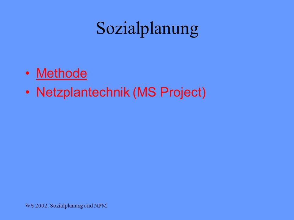 Sozialplanung Methode Netzplantechnik (MS Project)