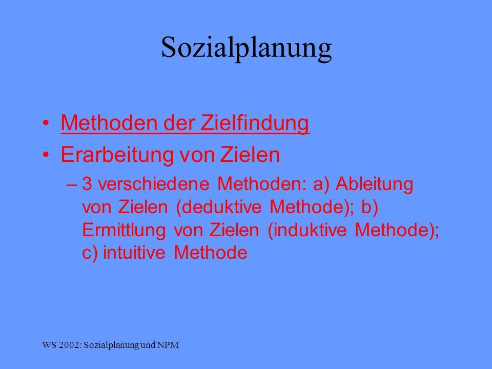 Sozialplanung Methoden der Zielfindung Erarbeitung von Zielen