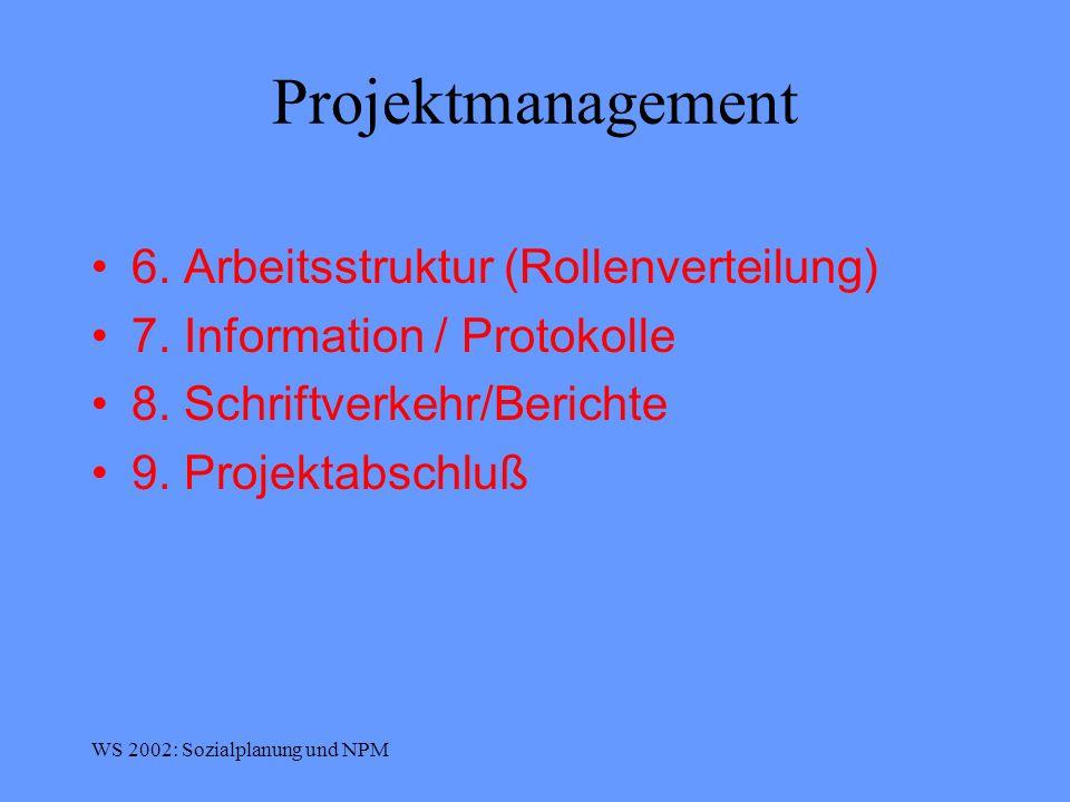 Projektmanagement 6. Arbeitsstruktur (Rollenverteilung)